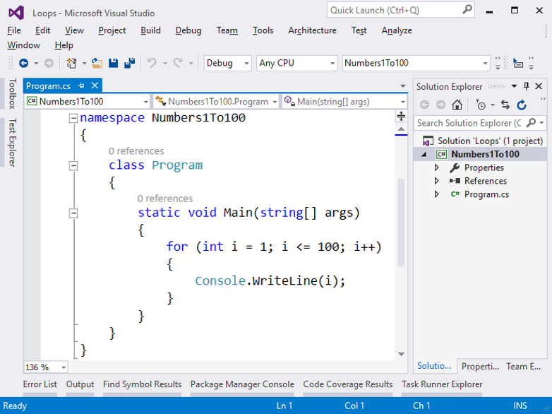 Example: Numbers from 1 to 100 · Programming Basics with C#